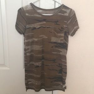 Army military green print top faded well worn